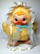 Vintage Rushton Star Creation Duck With Baby Bonnet And Blue Bow Rubber Face Plush