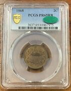 1868 Two Cent Piece Pcgs Pr65rb Cacnice Coin