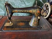 Antique 1918 Singer Red Eye Model 66 Treadle Sewing Machine In Cabinet