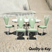 Vintage Regency Wrought Iron Dining Set Oval Table 6 Chairs Mint Green - 7pc Set