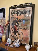 Antique French Poster Cycles Rochet Paris 3andrsquo X 2andrsquo Framed Rare Bicycle Cop Police