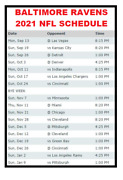 2021 Baltimore Ravens Nfl Football Schedule Refrigerator Magnet 4x6 Inches