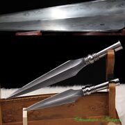 Camping Tactical Dagger Spearhead Short Sword Hand Forged Steel Blade Sharp3418