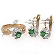 Russian Style Emerald Diamond Earrings And Ring 14k Rose And White Gold Set F-vs2.