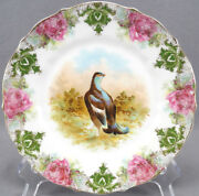 Carl Tielsch Game Bird Pink Roses Green And Gold Scrollwork Plate C. 1875 - 1900