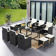 Wicker Rattan Dining Chair Sets Garden Conversation Set With Glass Table 11piece
