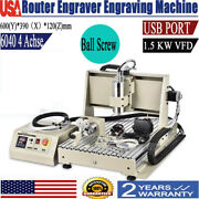 1.5kw Spindle 4 Axis 6040cnc Router Engraver Pcb Pvc Milling Driiling Machine