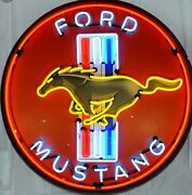 Ford Mustang In Steel Can Neon Lighting Car Racing Sign 36 X 36