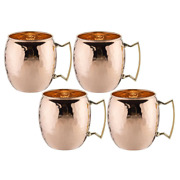 16 Oz. Moscow Mule Mug Solid Copper With Solid Cast Brass Handle Set Of 4 New