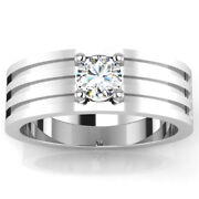 0.41 Ct Natural Diamond Mens Engagement Band 18k Solid White Gold Ring Size 11
