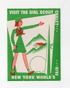 1939 New York World's Fair Girl Scout Poster Stamp / Label