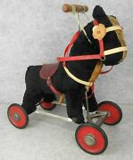 Antique Childs Steiff Ride On Toy Riding Pony Horse Handle Bar Red Wheels