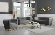 Contemporary Style Channel Tufting Sofa Love Seat Gray Color Velvet 2pc Sofa Set