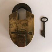 Brass Padlock Or Lock With Key An Old Or Antique Strong And Heavy.