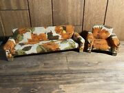 Vintage Mcm Miniature Furniture Mid Century Modern Floral Couch Chair