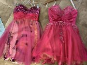 2 Cinderella Hot Pink Frill Short Tulle Layered Dresses Prom Formal Sequin Lot 4
