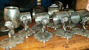Set Of 8 Silverplate Figural Napkin Rings Cherubs + 2 Toothpick Holders Barbour