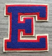 Vintage Large Varsity Letter E Patch 6x6.5 New Unused Football Chenille