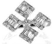 Large .91ct Diamond 18k White Gold Round And Baguette Multi Square Flower Fun Ring