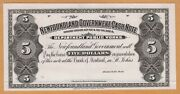 Newfoundland Government Cash Note 5 Dollars Proof Uniface Issue Au Nf-6p