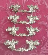 French Provincial Drawer Pulls 3 Bore Set Of 4 White Gold Fancy