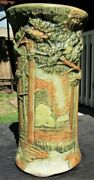 Antique 8 1/4 Weller Forest Tree Woodcraft Art Pottery Vase Arts And Crafts