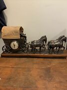 Vintage Horse Drawn Covered Wagon United 550 Clock And Light Stagecoach Canopy