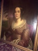 Antique Early American Oil Painting Portrait Sleepy Hollow Mary Hutchings Crane