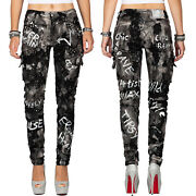 Cipo And Baxx Womenand039s Jeans Trousers Glitter Effect Paint Spots Writing Cargo