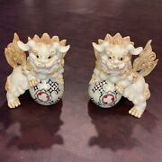 Chinese Statue Foo Dogs Ivory Resin Guardian Lions Feng Shui