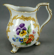 Kpm Berlin Neuzierat Hp Dresden Floral And Raised Gold Small Footed Creamer