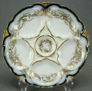 Haviland Limoges Cobalt Gold Scrollwork And Double Gold Oyster Plate C. 1903-1935