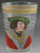 Early 1800's- Late 1800's Hand Painted And Hand Blown Flip Glass Cup