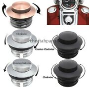Black/chrome Flush Mount Pop Up Vented Fuel Tank Gas Cap For Harley Screw In