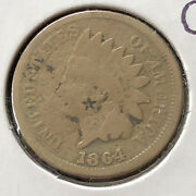 1864 Indian Head Cent 1c One Penny Copper Nickel Circulated With Star 10819