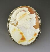 Antique Victorian 14k Gold And Shell Greco Roman Ares Athena Cameo Pin/brooch