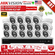 Hikvision Security Camera System Poe Ds-7616ni-k2/16p 16ch Ds-2cd2347g1-lu