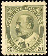 Canada Mint H F 20c Scott 94 1904 King Edward Vii Issue Stamp With Gum Issue