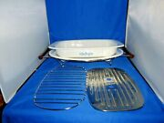 Corning Ware Vintage Blue Cornflower Collection Platter And Roaster With Stand