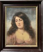 Old Oil Painting Young Woman Portrait 19. Century 13 3/8x11 3/16in K.winter