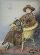 Portrait Woman In Wicker Chairs A. From Knobloch With Adelswappen 18 5/16x13in