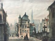 City View Watercolour With People Churches South Germany Wien 1879 24,5 X 32,5