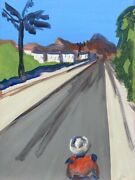Street With Palm And Person Spain South America Tenerife 70 X 50 Expressive