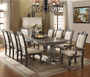 New Modern Gray Formal 72-108 Extendable Dining Table Set And Upholstered Chairs