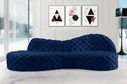 Contemporary Style 2pc Sectional Sofa Navy Color Velvet Deep Button Tufting