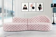 Contemporary Style 2pc Sectional Sofa Pink Color Velvet Deep Button Tufting