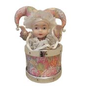 Porcelain Face Clown Dolls + Music Box, Collectible, New With Box.