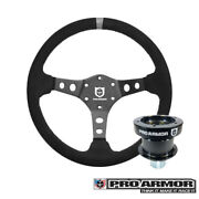 Pro Armor Top Suede Steering Wheel Grey Concave+ Quick Disconnect Release Rzr X3