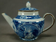 Shorthose And Co Nelson Blue Transferware Pearlware Childand039s Teapot C. 1806-1810