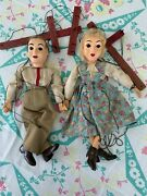 2 Hazelle's Marionettes Puppets Vintage Antique Toys Man And Woman/girl